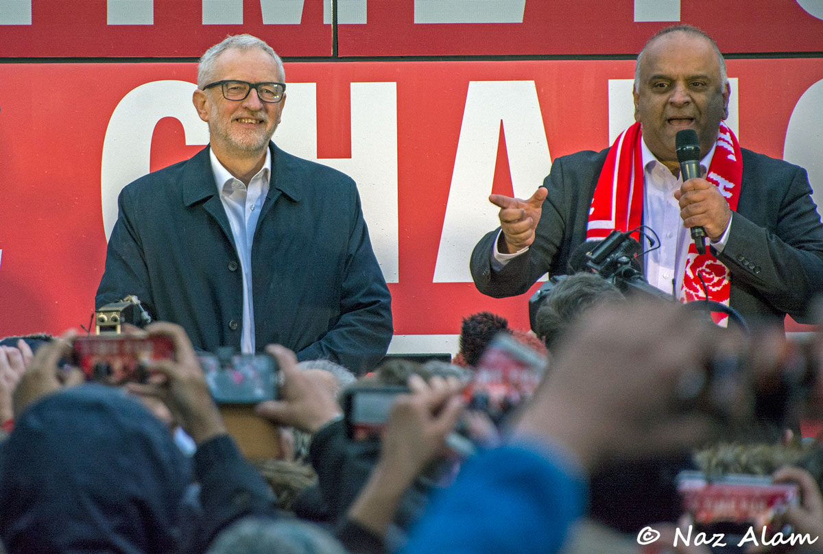 Pendle's Labour candidate Azhar Ali introduces Jeremy Corbyn to  the crowd.