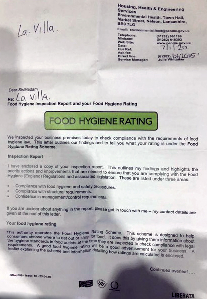 La Villa - Food Hygiene Rating 4 (7-Jan-2020)
