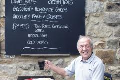 Lock Stop Cafe: Frank Murray having a coffee.