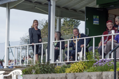 Pendle Mayor, Mayoress and Mayors Assistant watching  the bowling