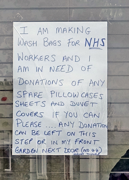 Appeal for materials to make wash bags for NHS & Care workers.